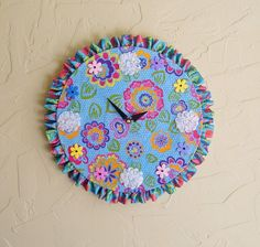 Aqua Blue and Pink Flowers Vintage LP Clock Fabric by IsItNoonYet, $15.00