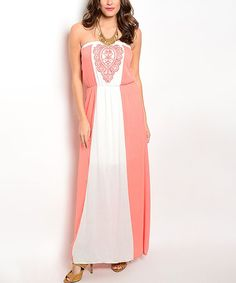 Look at this Coral & Ivory Embellished Strapless Maxi Dress on #zulily today!