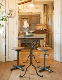 industrial style table  stools...shabby doors and walls