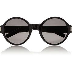 Saint Laurent Round-frame acetate sunglasses (22.885 RUB) ❤ liked on Polyvore featuring accessories, eyewear, sunglasses, glasses, black, uv protection glasses, round acetate sunglasses, yves saint laurent sunglasses, round sunglasses and black glasses