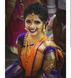 Image may contain: 1 person, standing Asian Bridal Hair, Indian Bridal Wear, Indian Wedding Outfits, Indian Wedding Couple Photography, Wedding Photography Poses, Wedding Poses, Marathi Bride, Marathi Wedding, Marathi Nath