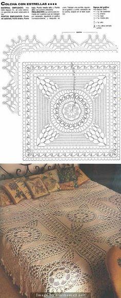 57 Ideas Crochet Pillow Cover Granny Blankets For 2019 Crochet Afghans, Crochet Bedspread Pattern, Crochet Stars, Crochet Motifs, Crochet Blocks, Crochet Pillow, Crochet Diagram, Thread Crochet, Filet Crochet