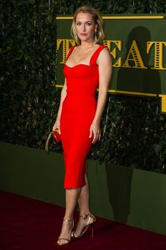#Gillian #Anderson in bright #red #dress