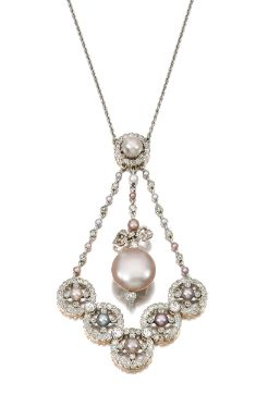 Natural pearl and diamond pendant necklace, Early 20th Century - Set with variously coloured natural pearls, millegrain set with circular- and single-cut diamonds, length approximately 420mm.