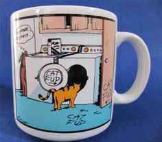 The Far Side Coffee Mug Cup Dog Tricking Cat into the Dryer with Cat Fud 8 oz. $15.99