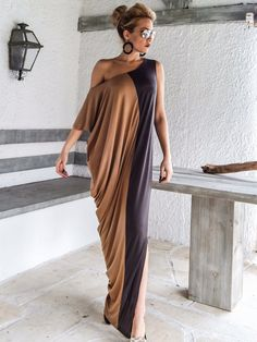 Gray & Taupe Maxi Dress / Gray Taupe Kaftan / Asymmetric Plus
