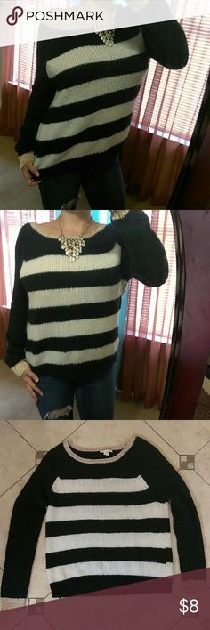 "*Forever 21* Black & White Sweater Excellent condition-Acrylic, Polyester blend- WEAR 2 Ways- off shoulder or regular- Bust:23""- Length: 26"" Forever 21 Sweaters Crew & Scoop Necks"