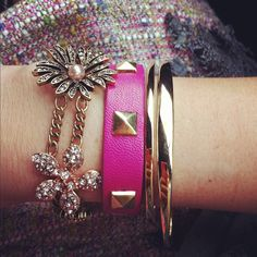 Girly arm party #pink #flowers