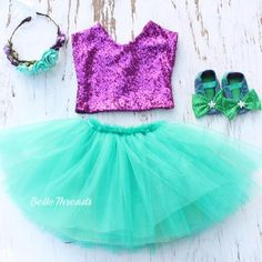 Mermaid Birthday Tutu Set in Birthday Purple Top & Jade Bottoms - Belle Threads
