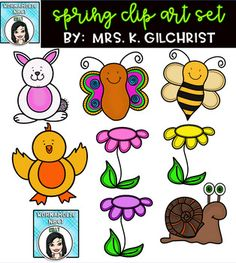 Spring is on the way!, or at least pretend it is with this cute, brightly colored, spring freebie! This clip art set includes 14 high quality transparent png images (meaning no white background around them). 8 Colored and 6 black lined are included. 2 Clipart, Cute Clipart, Teacher Teaching Students, Image Meaning, Classroom Clipart, Play To Learn, Doodle Art, Creative Inspiration, At Least