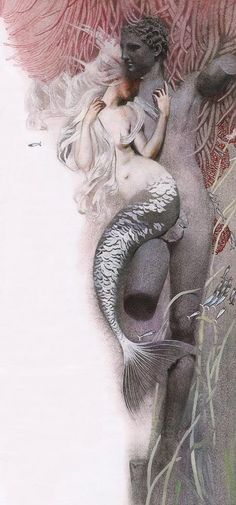 Magazine - Nadezhda Illarionova's Dark Fairy Tales Illustration by Nadezhda Illarionova for The Little Mermaid by Hans Christian Andersen Interesting Mermaid Illustration, Art Et Illustration, Mermaids And Mermen, Hans Christian, Merfolk, Mermaid Art, Dark Mermaid, Mermaid Paintings, Vintage Mermaid
