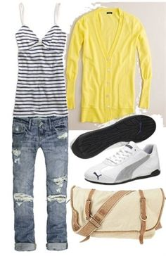 No stripes. Add Nikes.  Love this casual spring look