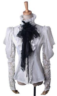 Chemise blanche royale manches bouffantes, dentelle et jabot punk rave Y-411