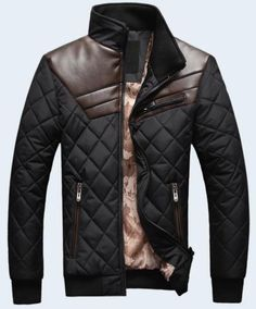 Hot-sell-Mens-Quilted-Jacket-Cotton-padded-leather-Winter-Slim-Coat
