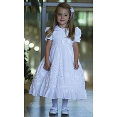 Angels Garment White Floral Design Cotton Baptism Dress Girls 612M ** More info could be found at the image url.