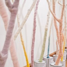 Designers Not Tom have created an installation where coloured dye rises by capillary action out of paint tins and along tree branches wrapped in wool.