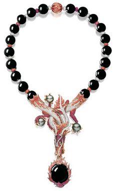 BLACK JADEITE, RUBY, MULTI-COLOURED SAPPHIRE AND DIAMOND 'FLAMING DRAGON' NECKLACE, ALESSIO BOSCHI