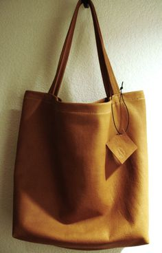 Large and sturdy Tan Caramel Chestnut Leather Tote by LWCollection, $110.00