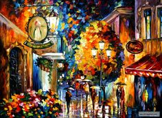 CAFE IN THE OLD CITY   — PALETTE KNIFE Oil Painting On Canvas By Leonid Afremov studio