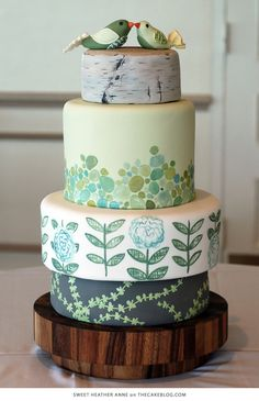 Green Cake design by Sweet Heather Anne Fancy Cakes, Cute Cakes, Pretty Cakes, Themed Wedding Cakes, Wedding Cake Decorations, Themed Cakes, Wedding Themes, Bird Cakes, Cupcake Cakes