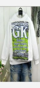 Letters Chest Long Sleeve Cotton Kid's Top White