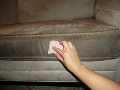 How to clean microfiber furniture: 1. vacuum 2. spray with rubbing alcohol 3. Rub vigorously with a clean scrub sponge 4. Let area dry completely 5. Rub with a clean, soft scrub brush in a circular motion
