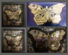 Verre Eglomise, back-painted glass gilding using 22k gold leaf & polychromes