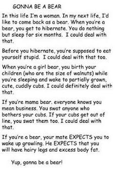 I wanna be a bear