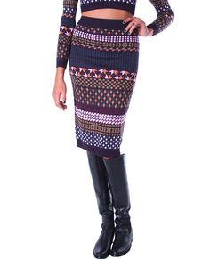 +Knitted sweater pencil skirt features colorful mixed print
