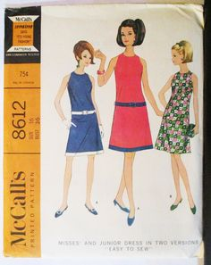 1960s Vintage Sewing Pattern McCalls 8612 Misses Dress Pattern in Two Versions Size 16 Bust 36 by SewYesterdayPatterns on Etsy