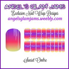Sunset Ombre Jamberry Nail Wraps by Angel's Glam Jams  ORDER HERE: http://angelsglamjams.weebly.com/sunset-ombre.html  #ombre #purple #orange #yellow #sunset #sunsetombre #jamberry #nailwraps