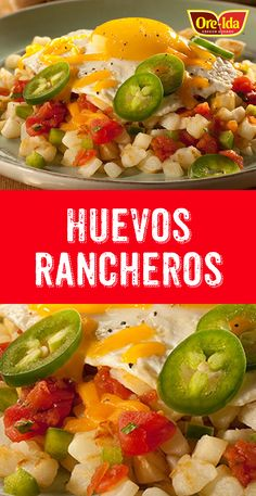 Huevos Rancheros are a breeze to prepare when you make them with Ore-Ida Diced Hash Browns and pre-shredded cheddar! Perfect for breakfast! Ore Ida, Diced Potatoes, Huevos Rancheros, How To Cook Potatoes, Hash Browns, How To Dry Oregano, Serving Plates, Dinner Tonight, Tomato Sauce