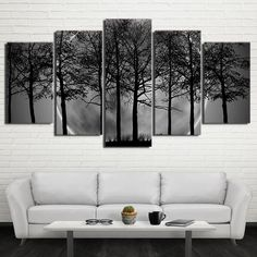 5 Pieces Black and White Tree Wall Art