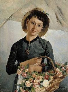 Aukusti Uotila (Finnish, 1858-1886) - Flower Girl, 1885