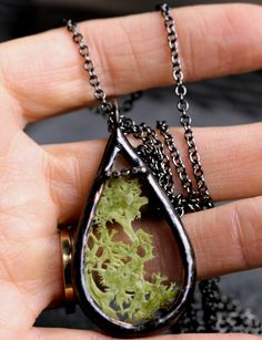 terrarium necklace real moss modern preserved reindeer moss pendant woodland jewelry teardrop green copper patina natural MOSS DROP. $64.00, via Etsy (RVA made)