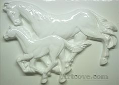 Two Horses Plaster Mold 17-1/2 x 12-1/2 Inch. Mix plaster of paris with water and pour into mold. Let the plaster harden. Now paint your finished mold with acrylic paints.