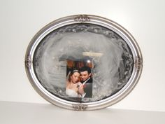 Oval bubble frame with veil and wedding photo-great heirloom piece! fafpreservation.com