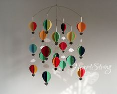 Hot Air Balloon mobile in soft contemporary brights Baby