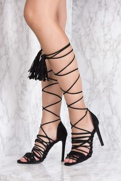 They're gonna leave a mark! This Strap Gladiator Heel by Na-kd features a open toe, stiletto heel, lace-up closure. Style with your favorite dress or skirt!