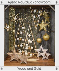 Wood and Gold - Χριστουγεννιάτικη βιτρίνα με ξύλινα στοιχεία