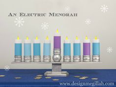 Design Megillah: An Electric Menorah for Children DIY Jewish Hanukkah, Hanukkah Crafts, Hanukkah Decorations, Hanukkah Menorah, Christmas Hanukkah, Happy Hanukkah, Hannukah, Christmas Candles, Hanukkah Recipes
