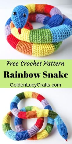 Crochet Rainbow Snake, Free crochet Pattern - GoldenLucyCrafts Make this cute crochet snake for your child! Easy and fun crochet project, perfect for beginners! Crochet toy snake free pattern, amigurumi crochet snake, crochet for kids. Blog Crochet, Crochet Simple, Cute Crochet, Crochet For Kids, Crochet Crafts, Crochet Baby Toys, Easy Things To Crochet, Crochet Stuffed Animals, Easy Crochet Animals