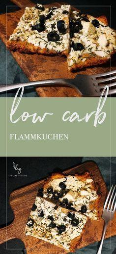 Rezept für low carb Flammkuchen. Knusprig wie das Original ganz ohne Mehl. Mit wenigen Zutaten schnell gemacht. Ein ideales low carb Abendessen. Probiere es mit unterschiedlichen Belägen aus!