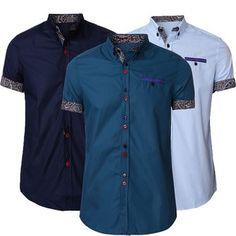 93b15cb37eaf Men Summer Cotton Blend Turn-down Collar Colorful Button Short Sleeve Shirts