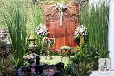 """Place of bridal shower, the backdrop call """"gebyok""""."""