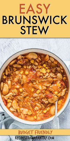 Easy Brunswick Stew is a delicious well-rounded meal served in a bowl! This is a quick-cooking, budget-friendly meal that is hearty, filling, & sure to satisfy. Southern Brunswick stew recipe is made with a handful of basic pantry ingredients & all those leftovers, plus it's super versatile and easily adaptable. A perfect make-ahead meal and meal prep solution. Click through to get this awesome Brunswick stew recipe!! #stew #dutchoven #southern #southernrecipe #brunswickstew #mealprep… Slow Cooker Recipes, Crockpot Recipes, Soup Recipes, Cooking Recipes, Recipies, Beans Recipes, Lunch Recipes, Appetizer Recipes, Dinner Recipes