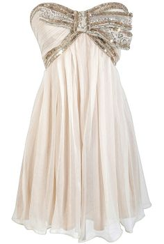 Cream and Gold Sequin Bow Chiffon Designer Dress by Minuet    www.lilyboutique.com