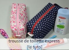 tuto de la trousse de toilette – ultra facile et ultra rapide – Pikebou Sewing Hacks, Sewing Tutorials, Sewing Tips, Do It Yourself Mode, Couture Sewing, Coin Couture, Tiny Dancer, Sewing Projects For Beginners, Sunglasses Case