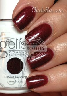 Gelish - Elegant Wish. I got this color today... A nice dark red, not too sparky, would be good for the holidays
