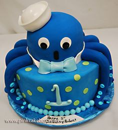 Octopus 1st Birthday Cake by Pink Cake Box
